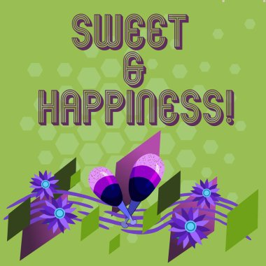 Text sign showing Sweet And Happiness. Conceptual photo feeling that comes over when you know life is good Colorful Instrument Maracas Handmade Flowers and Curved Musical Staff.