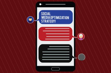 Text sign showing Social Media Optimization Strategy. Conceptual photo SEO Advertising Marketing strategies Mobile Messenger Screen with Chat Heads and Blank Color Speech Bubbles.