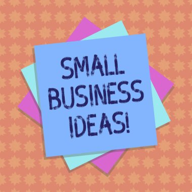Writing note showing Small Business Ideas. Business photo showcasing A concept that can be used for financial business gain Multiple Layer of Sheets Color Paper Cardboard with Shadow.