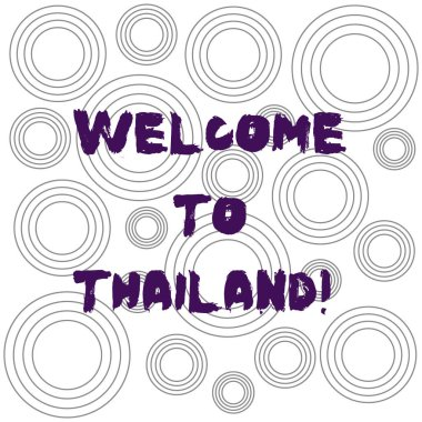 Word writing text Welcome To Thailand. Business concept for inviting showing or tourist to visit your home country Multiple Layer Concentric Circles Diagram Repeat Pattern for Presentation.