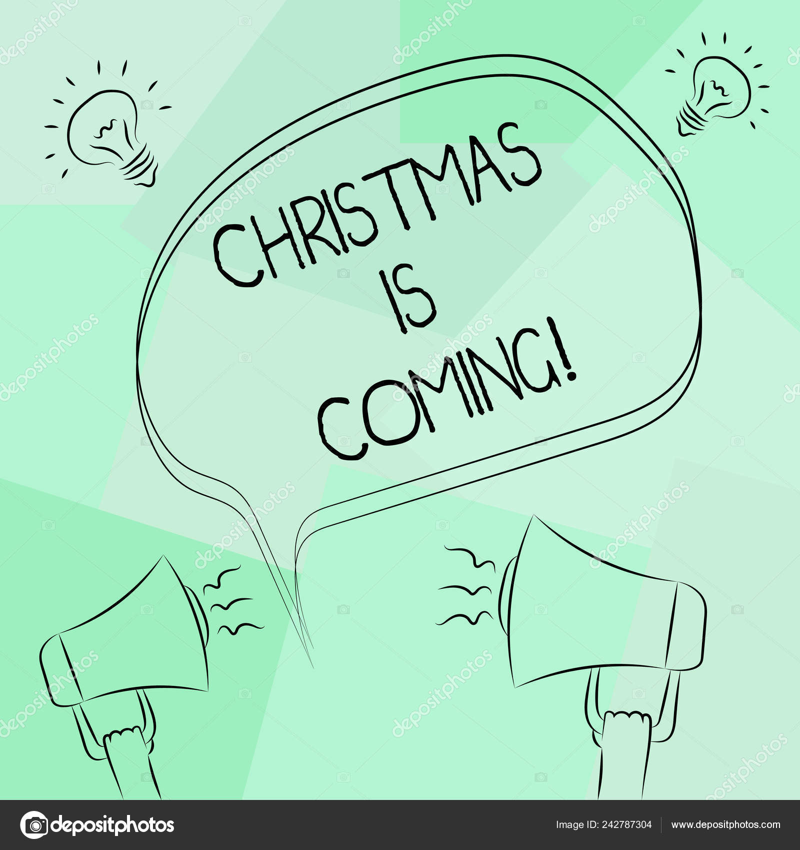 Conceptual hand writing showing Christmas Is Coming. Business photo text annual Christian festival celebrating Christs birth here Freehand Outline Sketch of ...