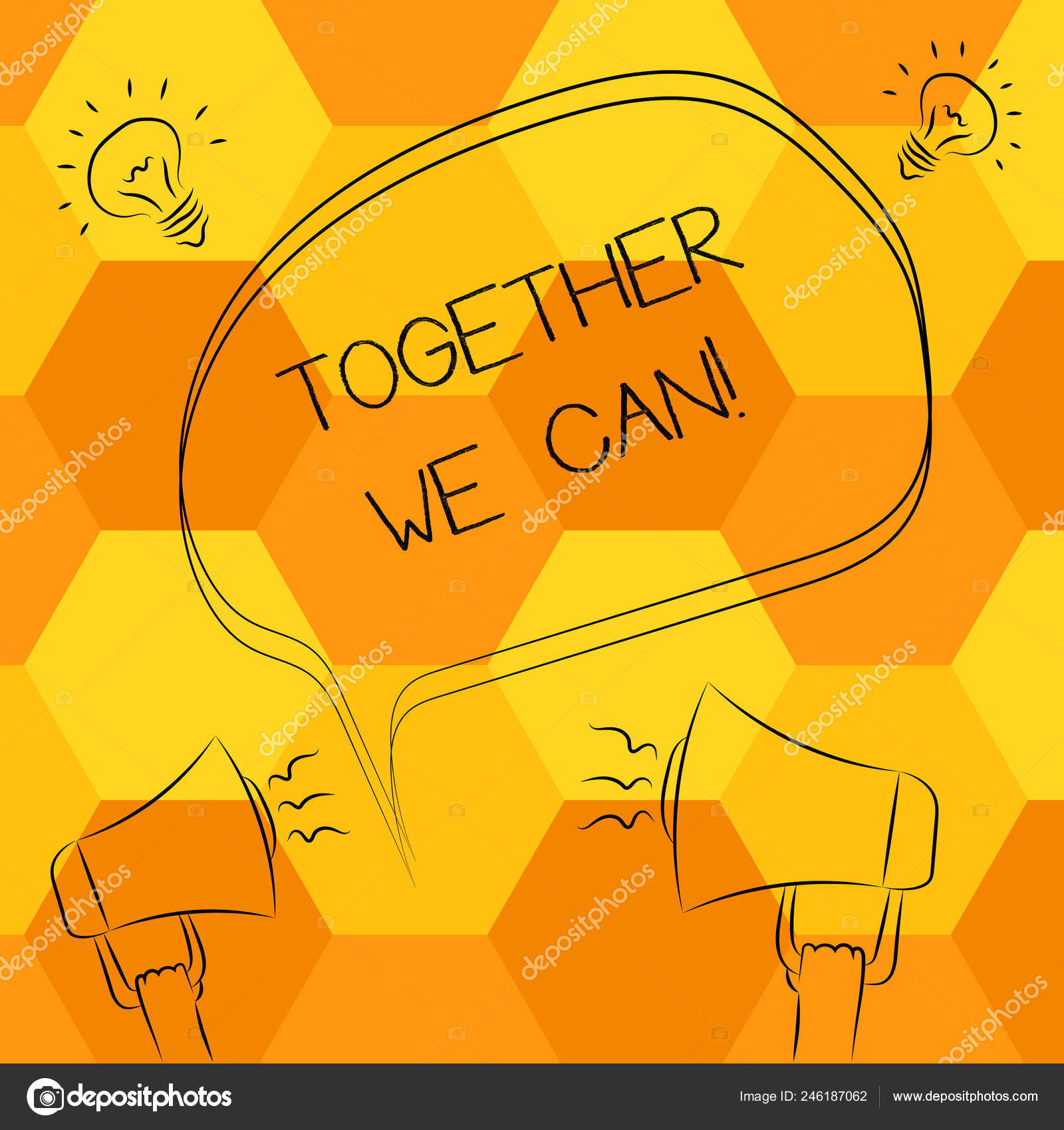 Handwriting text writing Together We Can  Concept meaning Unity can
