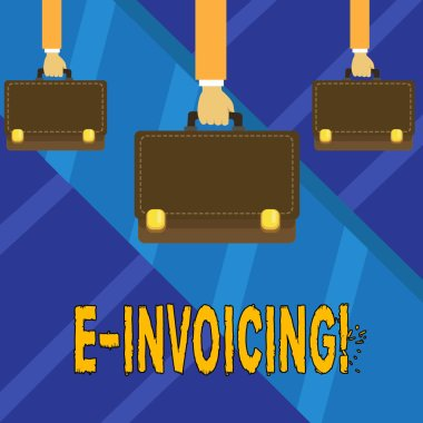Writing note showing E Invoicing. Business photo showcasing Company encourages use of digital billing.