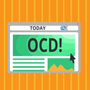 Conceptual hand writing showing Ocd. Business photo text Obsessive Compulsive Disorder Psychological Illness Medical Condition.