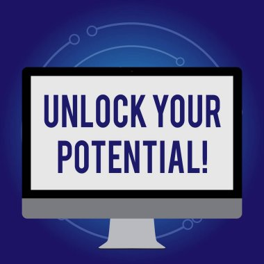 Conceptual hand writing showing Unlock Your Potential. Business photo text release possibilities Education and training is key White Computer Monitor WideScreen on a Stand for Technology.