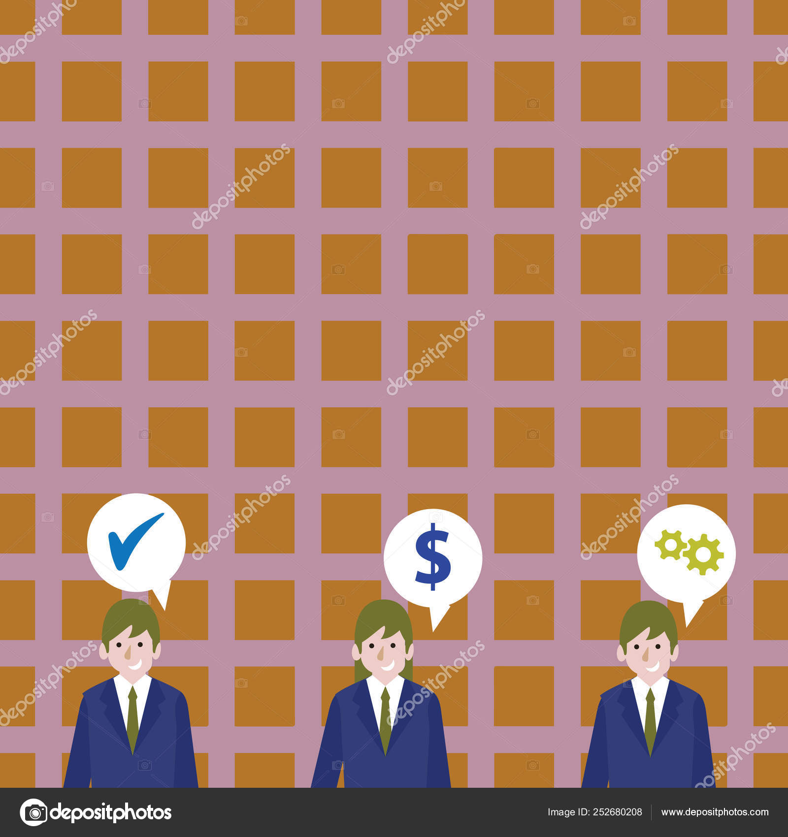 Illustration of Three Business People with Each has Speech Bubble