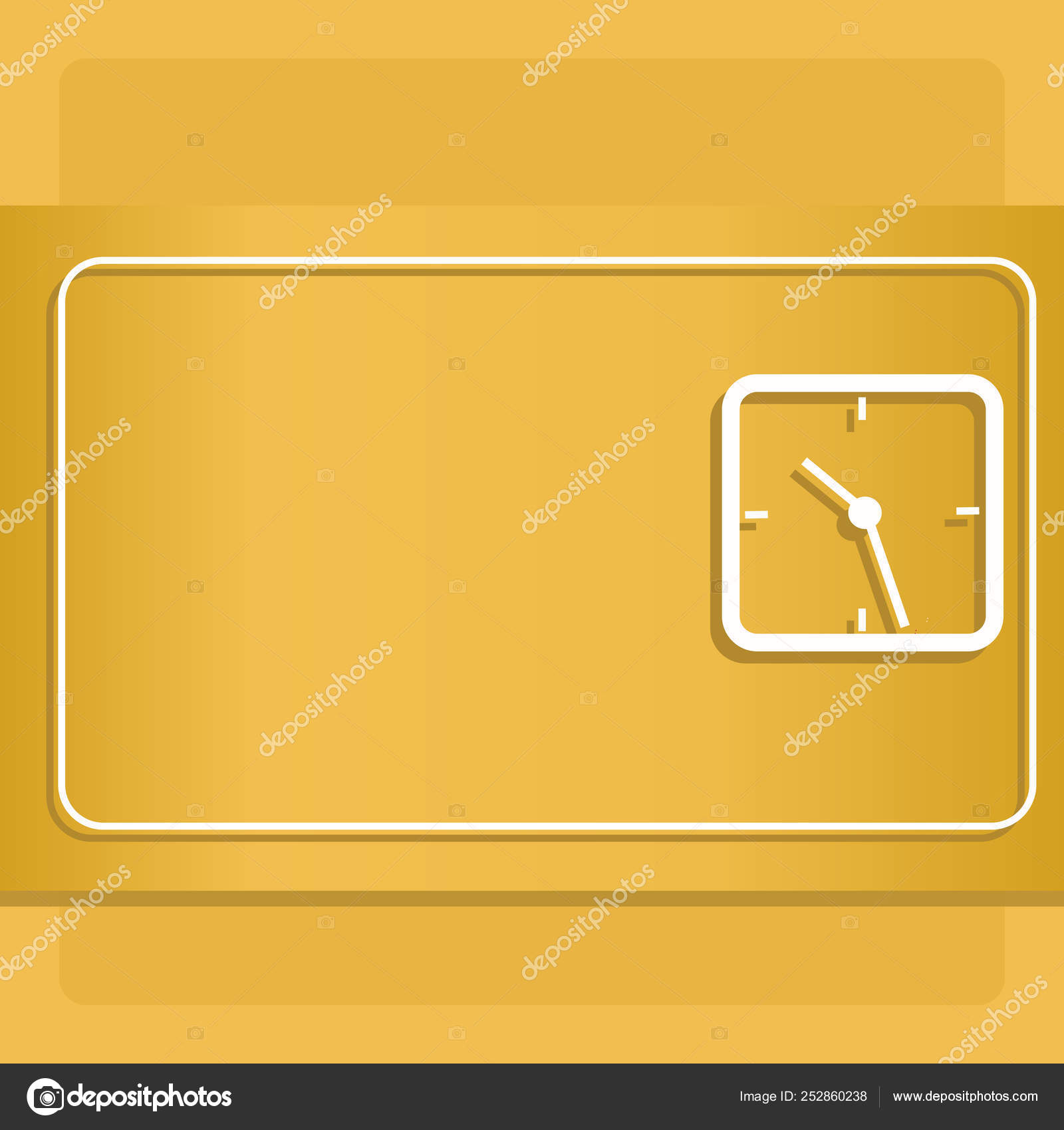 Square Outline of Analog Clock on Two Tone Pastel Backdrop