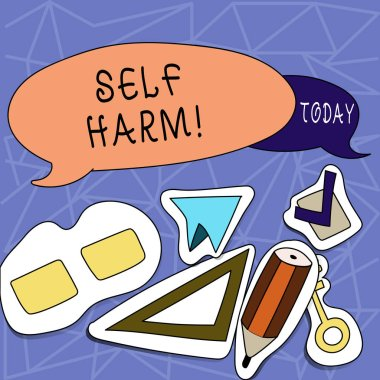 Text sign showing Self Harm. Conceptual photo deliberate injury typically analysisifestation psychological Two Blank Colorful Speech Balloon and Different Labels Sticker Style Icons.