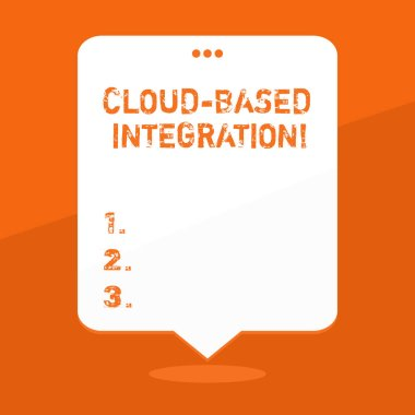 Handwriting text writing Cloud Based Integration. Concept meaning tools and technologies that connects applications Blank Space White Speech Balloon Floating with Three Punched Holes on Top.