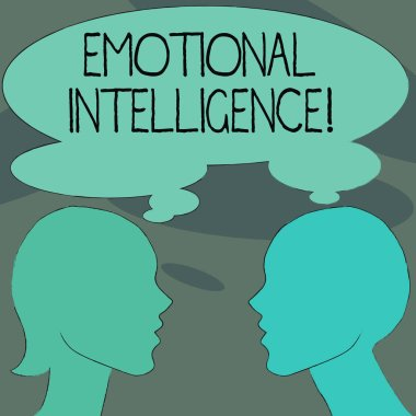Handwriting text Emotional Intelligence. Concept meaning Ability to identify and analysisage own and other emotions Silhouette Sideview Profile Image of Man and Woman with Shared Thought Bubble.