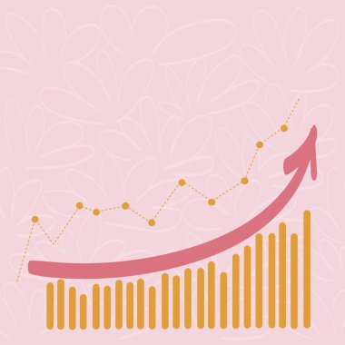 Combination of Column and Line Graphic Chart with Arrow Going Upward in Colorful Pastel Shade. Creative Blank Space Color Background for Presentation, Report and Financial Matters.