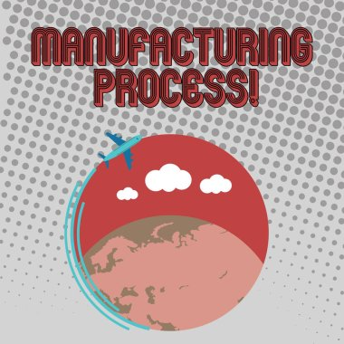 Handwriting text Manufacturing Process. Concept meaning steps which raw materials changed into a final product Airplane with Moving Icon Flying Around Colorful Globe and Blank Text Space.