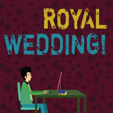 Conceptual hand writing showing Royal Wedding. Business photo text marriage ceremony involving members of kingdom family Businessman Sitting on Chair Working on Computer and Books.