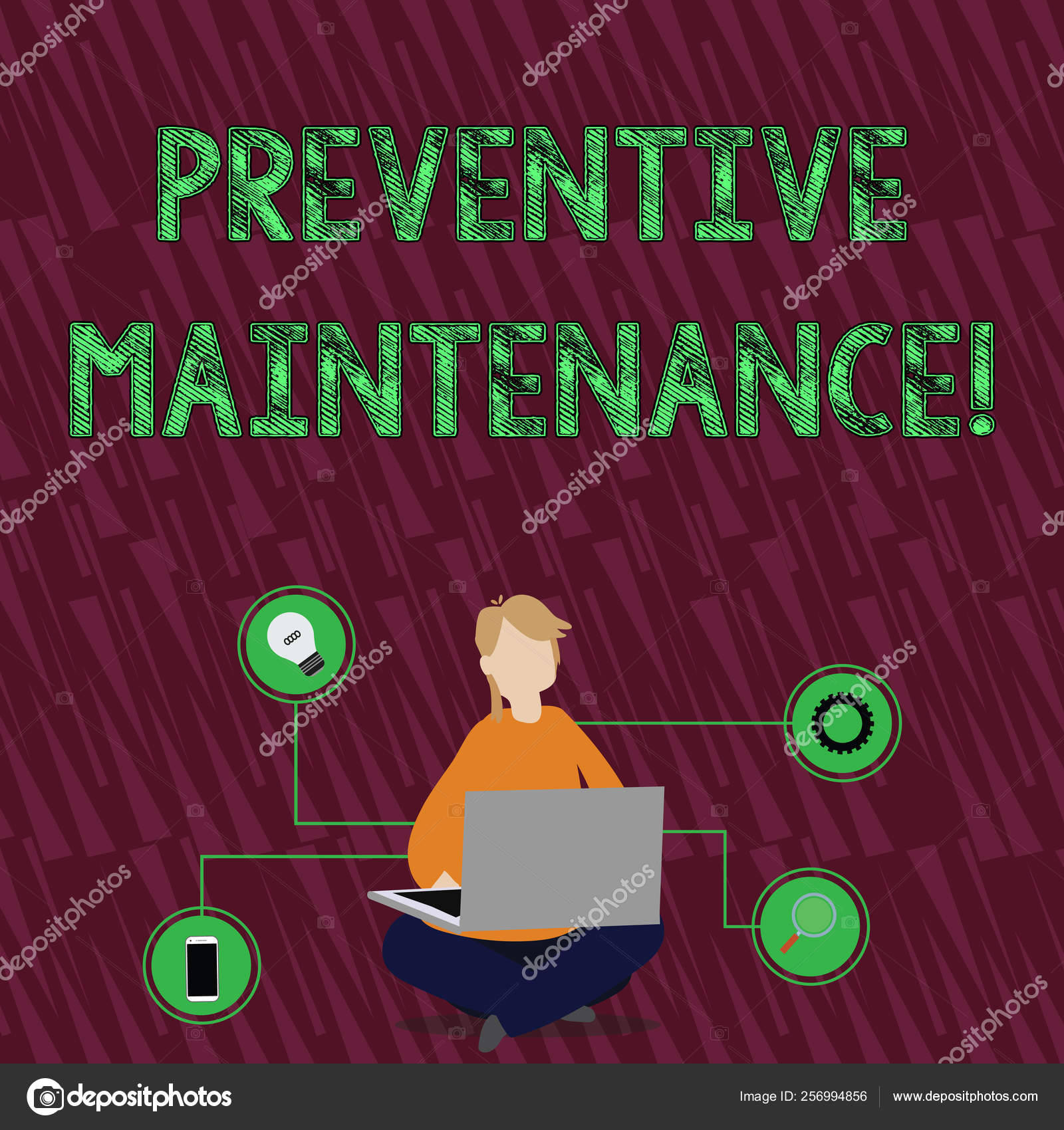 Handwriting text Preventive Maintenance  Concept meaning