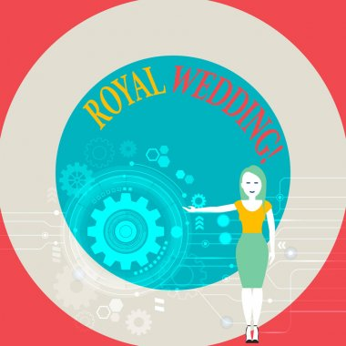 Word writing text Royal Wedding. Business concept for marriage ceremony involving members of kingdom family Woman Standing and Presenting the SEO Process with Cog Wheel Gear inside.