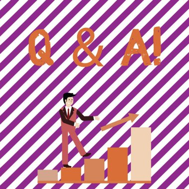 Writing note showing Q And A. Business photo showcasing defined as questions being asked and answers Smiling Businessman Climbing Bar Chart Following an Arrow Up.