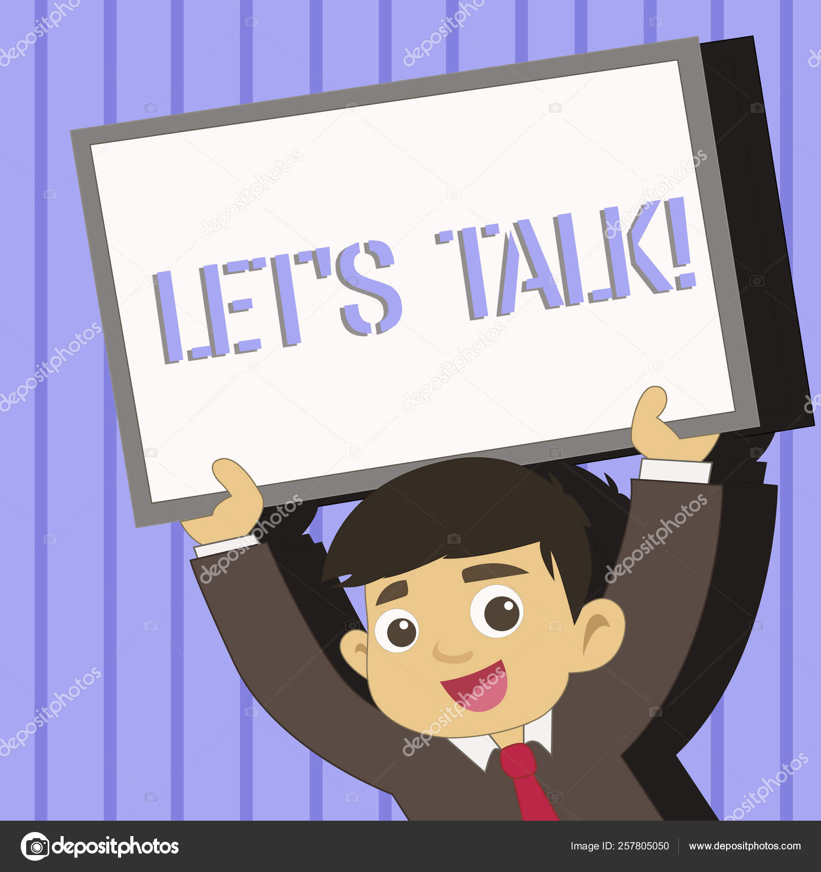 Word writing text Let S Talk. Business concept for they are suggesting  beginning conversation on specific topic Young Smiling Student Raising  Upward ...