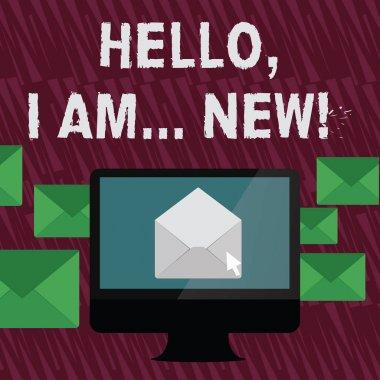 """Картина, постер, плакат, фотообои """"текстовый знак """"hello i am new"""". концептуальная фотография используется приветствие или начать телефонный разговор открыть цветовой конверт внутри экрана компьютера. корпус письма окружает пк ."""", артикул 259258258"""