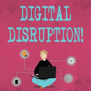 Writing note showing Digital Disruption. Business photo showcasing transformation caused by emerging digital technologies Woman Sitting with Crossed Legs on Floor Browsing the Laptop.