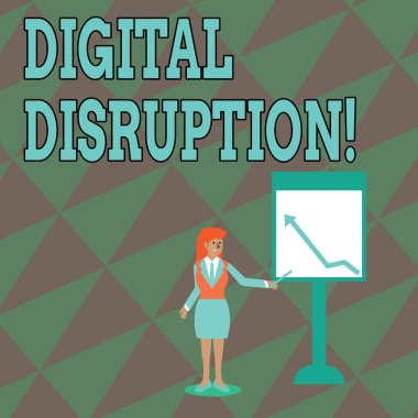 Text sign showing Digital Disruption. Conceptual photo transformation caused by emerging digital technologies Businesswoman Holding Stick Pointing to Chart of Arrow Upward on Whiteboard.