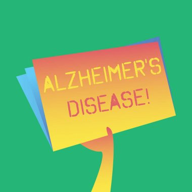 Text sign showing Alzheimer S Is Disease. Conceptual photo Advanced mental deterioration that occur in old age Hand Holding and Raising Blank Space Colorful File Folder with Sheet Inside.