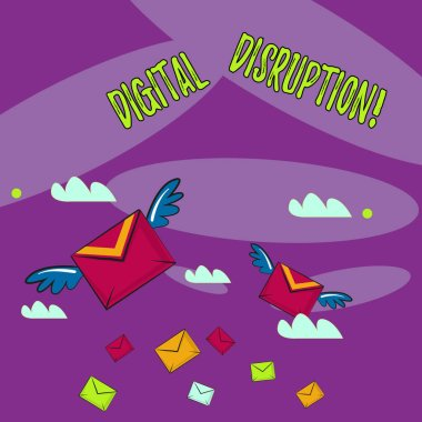 Word writing text Digital Disruption. Business concept for transformation caused by emerging digital technologies Many Colorful Airmail Flying Letter Envelopes and Two of Them with Wings.
