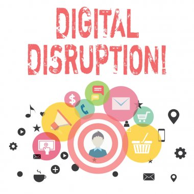 Text sign showing Digital Disruption. Conceptual photo transformation caused by emerging digital technologies photo of Digital Marketing Campaign Icons and Elements for Ecommerce.