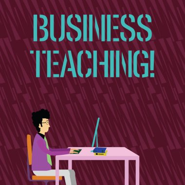 Text sign showing Business Teaching. Conceptual photo teaching the skills and operation of the business industry Businessman Sitting Straight on Chair Working on Computer and Books on Table.