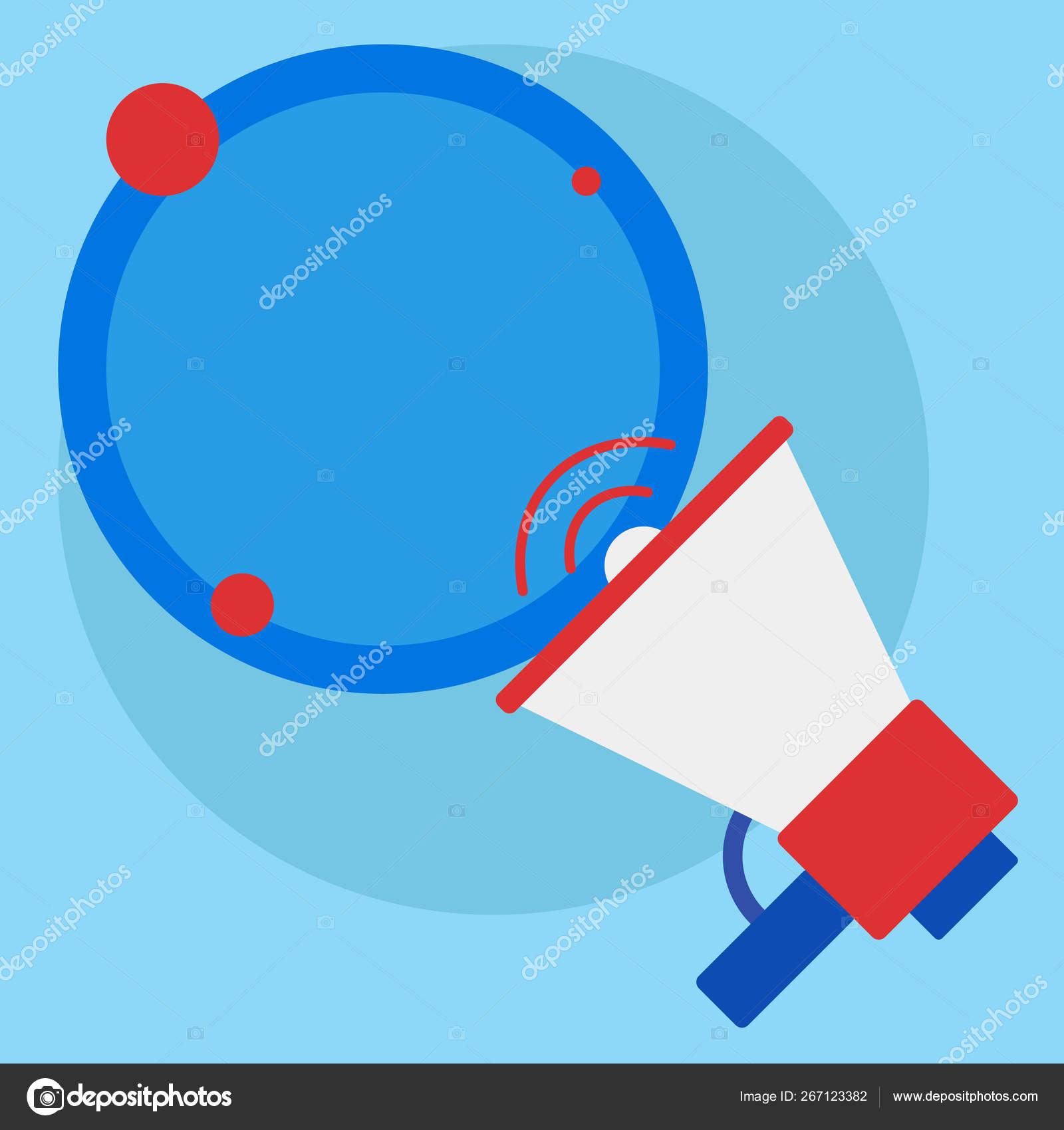 SpeakingTrumpet with Volume Icon and Blank Round Speech Bubble