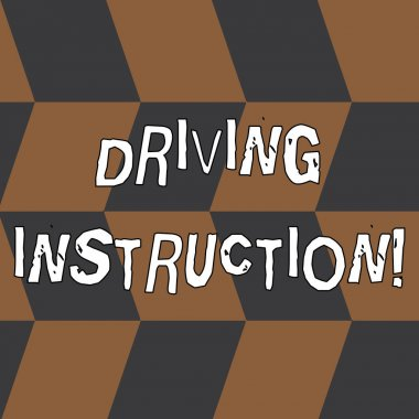 Word writing text Driving Instruction. Business concept for detailed information on how driving should be done Seamless Slanting Squares in Brown and Gray Alternate Color Creating Depth.