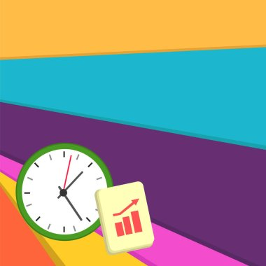 Simple Flat photo Layout of Wall Clock and Notepad with Bar Chart photo with Arrow Moving Pointing Up for Business Growth Concept. Escalating Bar Graph