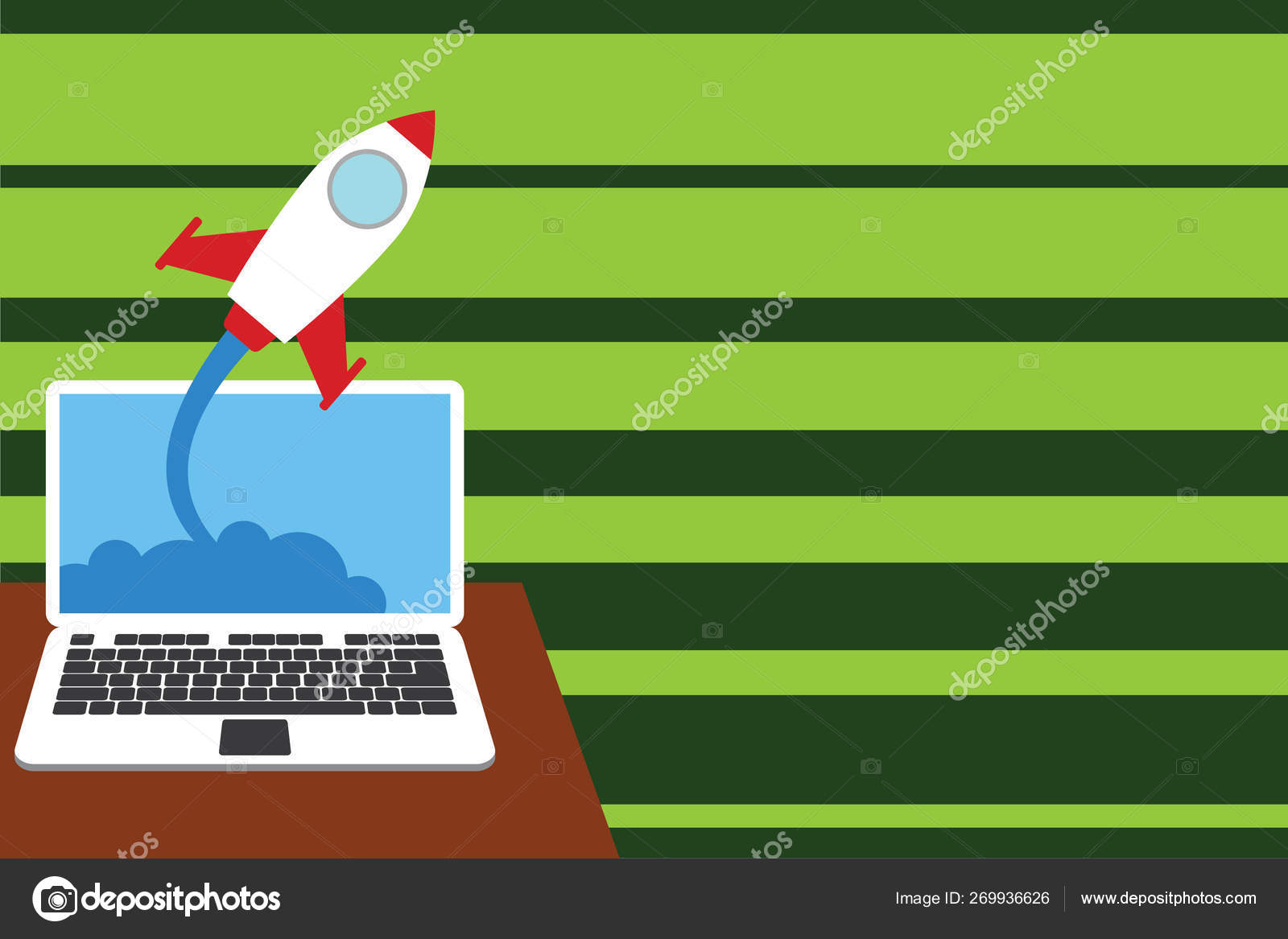 Rocket successful launching clouds out laptop background  Spacecraft