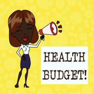 Handwriting text Health Budget. Concept meaning amount of money to support your health and wellbeing needs Young Woman Speaking into Blowhorn Volume Icon Colored Backgdrop Text Box.