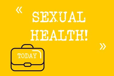 Word writing text Sexual Health. Business concept for Ability to embrace and enjoy sexuality throughout our lives Brief Case Attache Case against Empty Copy Space with Quotation Marks.