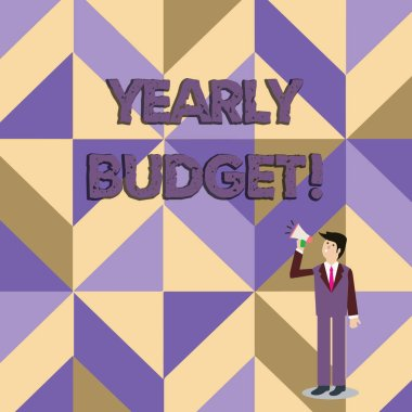 Writing note showing Yearly Budget. Business photo showcasing A plan for a company s is expenditures for a fiscal year Businessman Looking Up and Talking on Megaphone with Volume Icon.