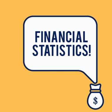 Word writing text Financial Statistics. Business concept for Comprehensive Set of Stock and Flow Data of a company Isolated front view speech bubble pointing down dollar USD money bag icon.