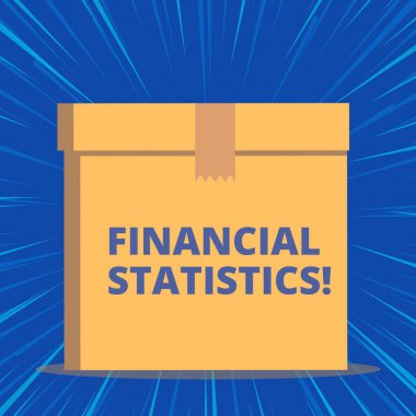 Writing note showing Financial Statistics. Business photo showcasing Comprehensive Set of Stock and Flow Data of a company Close up front view brown cardboard sealed box lid. Blank background.