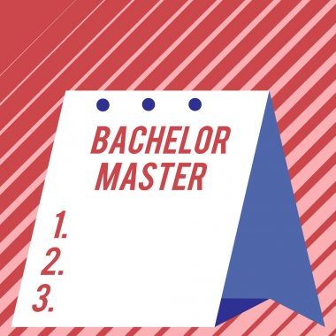 Text sign showing Bachelor Master. Conceptual photo An advanced degree completed after bachelor s is degree Modern fresh and simple design of calendar using hard folded paper material.