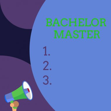 Conceptual hand writing showing Bachelor Master. Business photo text An advanced degree completed after bachelor s is degree Blank huge balloon empty text with small megaphone. Announcement.