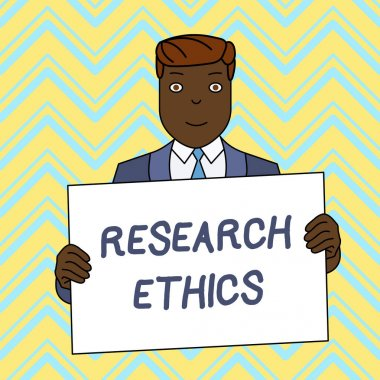 Text sign showing Research Ethics. Conceptual photo interested in the analysis ofethicalissues that raised Smiling Man Holding Formal Suit Big Blank Poster Board in Front of Himself.