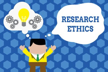 Text sign showing Research Ethics. Conceptual photo interested in the analysis ofethicalissues that raised Standing man suit hands up imaginary bubble light bulb gears working together.
