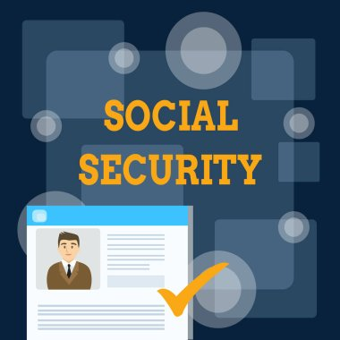 Writing note showing Social Security. Business photo showcasing assistance from state showing with inadequate or no income Curriculum Vitae Resume of Candidate Marked by Color Mark.