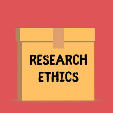 Handwriting text Research Ethics. Concept meaning interested in the analysis ofethicalissues that raised Close up front view open brown cardboard sealed box lid. Blank background.