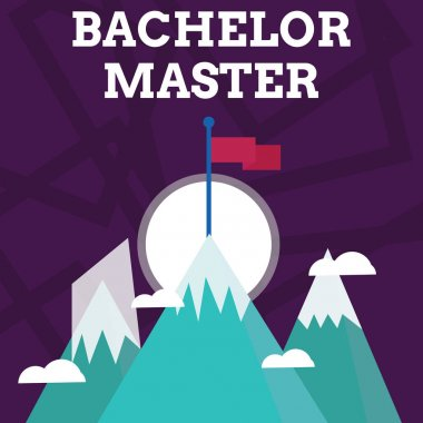 Handwriting text writing Bachelor Master. Concept meaning An advanced degree completed after bachelor s is degree Three High Mountains with Snow and One has Blank Colorful Flag at the Peak.