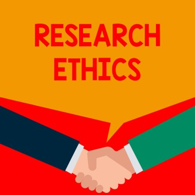 Word writing text Research Ethics. Business concept for interested in the analysis ofethicalissues that raised Two persons have bubbly conversation while greet each other and shake hands.