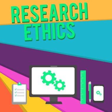 Word writing text Research Ethics. Business concept for interested in the analysis ofethicalissues that raised Business Concept PC Monitor Mobile Device Clipboard Ruler Ballpoint Pen.
