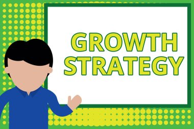 Word writing text Growth Strategy. Business concept for Strategy aimed at winning larger market share in shortterm Young man standing in front whiteboard pointing to project. photo Art.