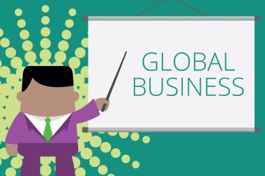 Writing note showing Global Business. Business photo showcasing Trade and business system a company doing across the world Businessman standing in front projector screen pointing project idea.