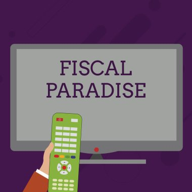 Word writing text Fiscal Paradise. Business concept for The waste of public money is a great concern topic Hand Holding Computer Remote Control infront of Blank Wide Color PC Screen.