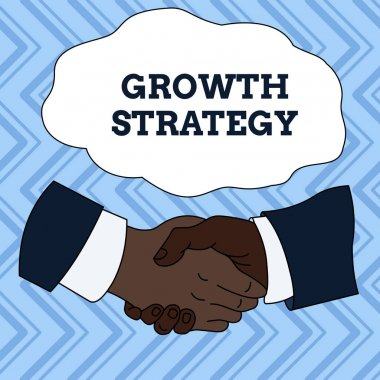 Text sign showing Growth Strategy. Conceptual photo Strategy aimed at winning larger market share in shortterm Hand Shake Multiracial Male Business Partners Colleagues Formal Shirt Suit.